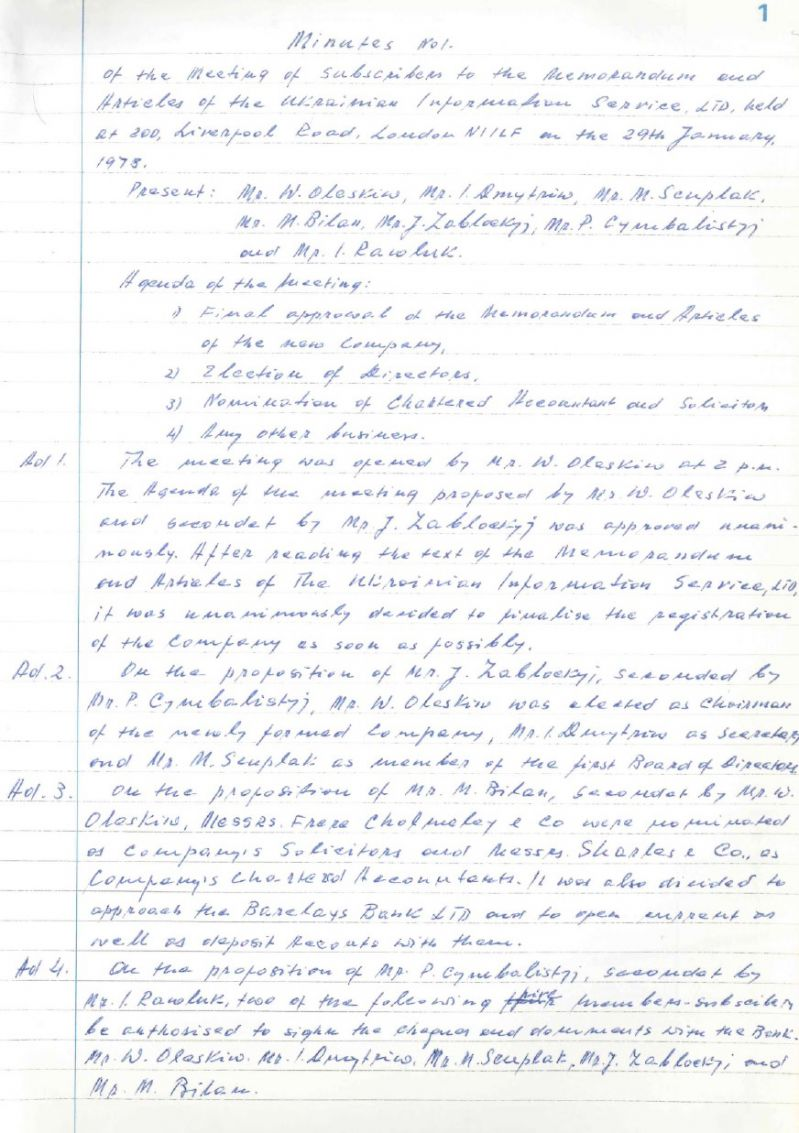 The book of minutes of the Ukrainian Information Service (1-63)