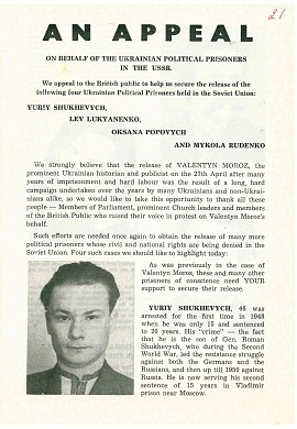 An appeal on behale of the ukrainian political prisoners in the USSR